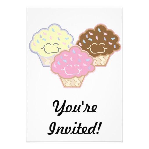 cute vanilla strawberry chocolate cupcakes invites