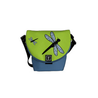 Cute Vector Dragonfly (Green Background) Messenger Bag