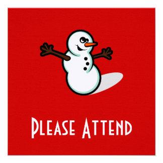 Cute Vector Snowman - Color Personalized Invitations