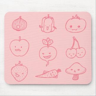 Cute Vegan Life Doodle Art Mousepad