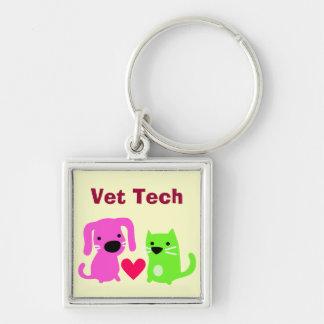 Cute Vet Tech Dog & Cat & Heart Key Ring