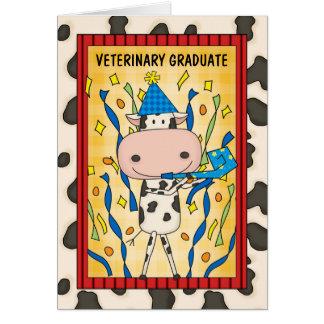 Cute Veterinary Medicine Graduate Cartoon Cow Card