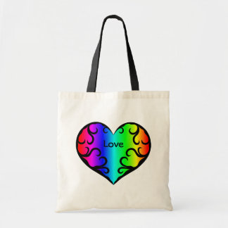 Cute victorian rainbow heart light tote bags