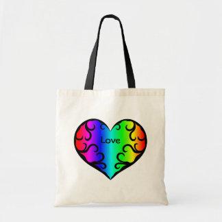Cute victorian rainbow heart light tote bags
