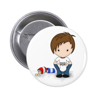 Cute Video Game Playing Emo Boy Cartoon 6 Cm Round Badge