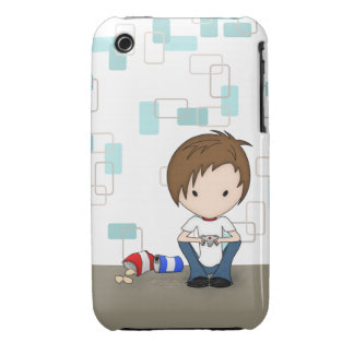 Cute Video Game Playing Emo Boy Cartoon iPhone 3 Case-Mate Cases