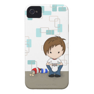 Cute Video Game Playing Emo Boy Cartoon iPhone 4 Case-Mate Cases