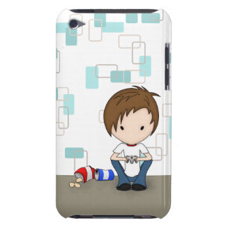 Cute Video Game Playing Emo Boy Cartoon iPod Case-Mate Case