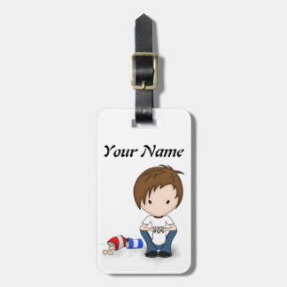 Cute Video Game Playing Emo Boy Cartoon Tag For Luggage