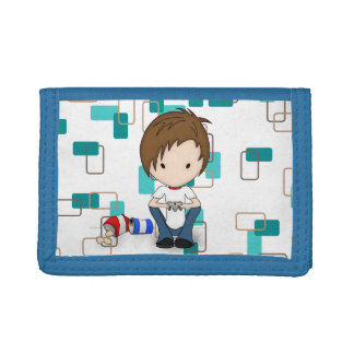 Cute Video Game Playing Emo Boy Cartoon Trifold Wallet