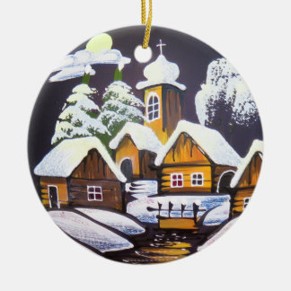 Cute Village Winter Scenery Round Ceramic Decoration