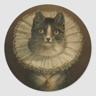 Cute Vintage 19th Century Cat Classic Round Sticker