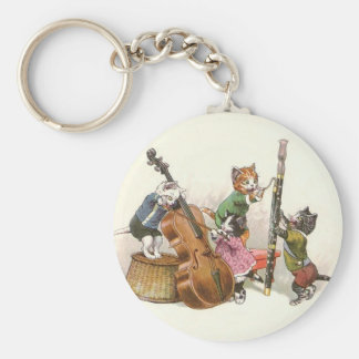 Cute Vintage Anthropomorphic Cats Playing Music Key Ring