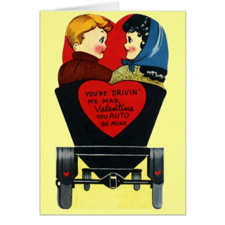 """Cute Vintage """"auto be mine"""" Valentines Day Card"""