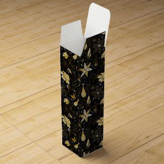 Cute vintage black golden floral background wine box