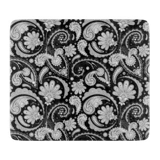 Cute vintage black white paisley patterns cutting board