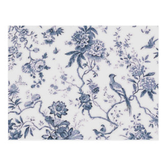 Cute Vintage Blue And White Bird Floral Postcard