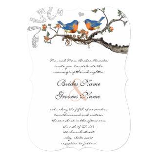 Cute Vintage Bluebirds Wedding Invitations