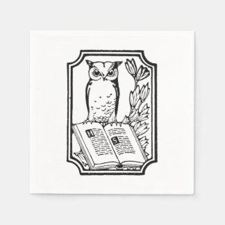 Cute Vintage book club owl party napkins Disposable Napkin