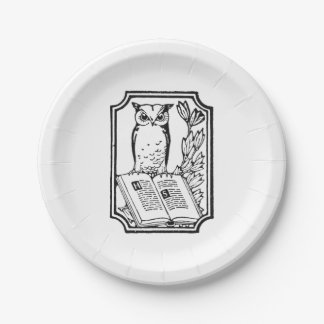 Cute Vintage book club owl party plate