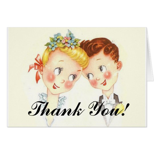Cute Vintage Bride & Groom Wedding Thank You Cards