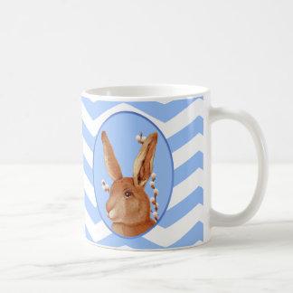 Cute Vintage Bunny and Chevron Pattern Basic White Mug