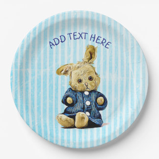 Cute Vintage Bunny Blue Striped Party Paper Plates 9 Inch Paper Plate