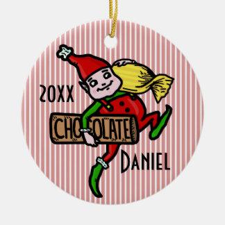 Cute Vintage Candy Christmas Elf Customizable Round Ceramic Decoration
