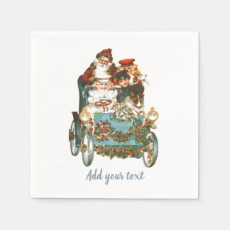Cute Vintage Car | Santa Claus Christmas Paper Serviettes