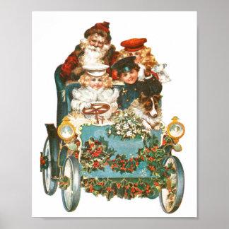 Cute Vintage Car | Santa Claus Christmas Poster