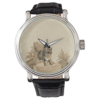 Cute Vintage Cat Drawing Antique French Card Wristwatch