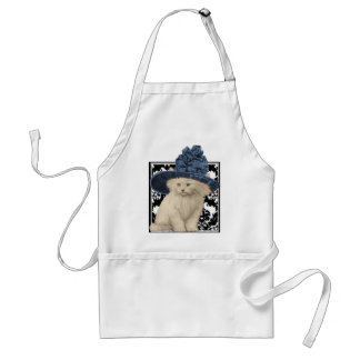 Cute Vintage Cat on Damask Blue Hat Apron