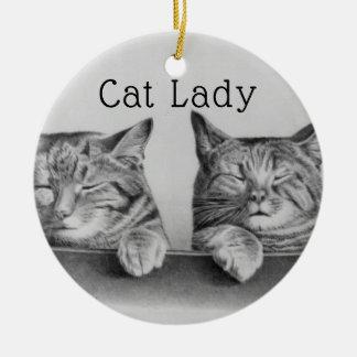 Cute Vintage Cats Funny Cat Lady Ceramic Ornament