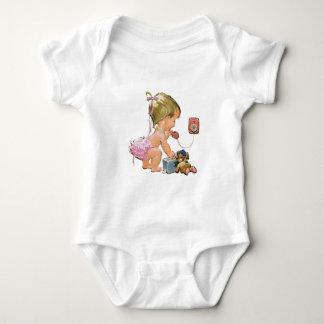 Cute Vintage Child on Telephone (Customisable) Baby Bodysuit