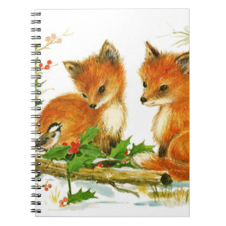 Cute Vintage Christmas Foxes Notebook