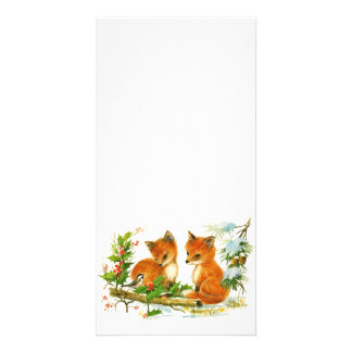 Cute Vintage Christmas Foxes Personalised Photo Card