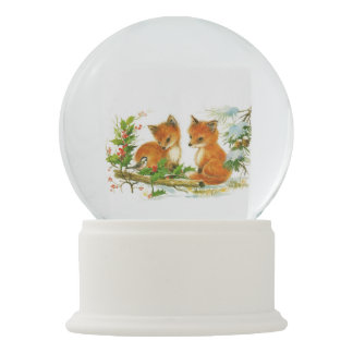 Cute Vintage Christmas Foxes Snow Globes