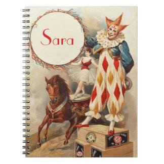 Cute Vintage Circus Clown Personalized Notebook
