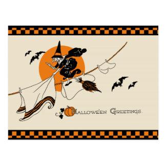 Cute Vintage Clothesline Witch Postcard