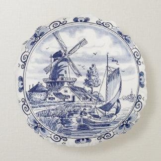 Cute Vintage Dutch Windmill Sailboat Delft Blue Round Cushion