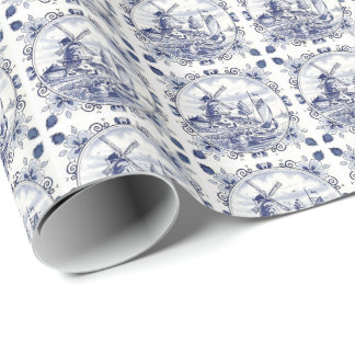 Cute Vintage Dutch Windmill Sailboat Delft Blue Wrapping Paper