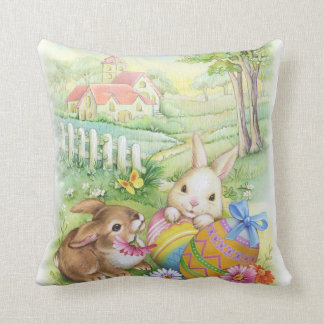 Cute vintage Easter bunnies with eggs and church Throw Pillow