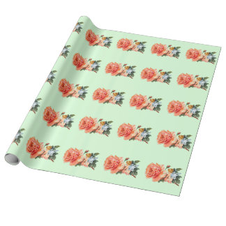 Cute Vintage Fairy Image Linen Wrapping Paper Roll