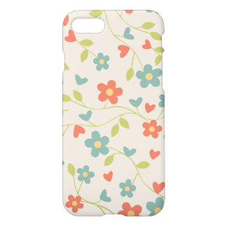 Cute Vintage Floral Flowers and Hearts Pattern iPhone 7 Case