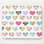Cute Vintage Floral Hearts Quilt Pattern Mouse Pad