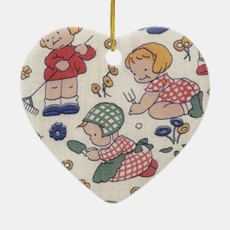 Cute Vintage Gardening Heart Ceramic Ornament