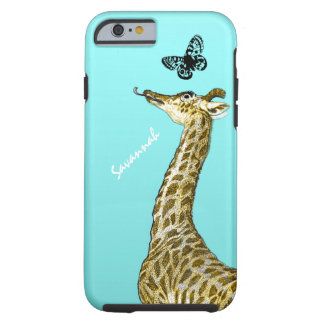 Cute Vintage Giraffe Licking a Butterfly on Aqua iPhone 5 Covers