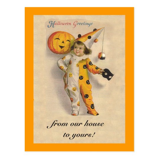 Cute Vintage Halloween Art with Customisable Text Postcard