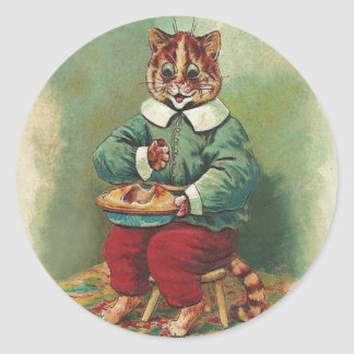 Cute Vintage Holiday Cat Sticker by Louis Wain