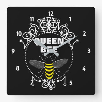Cute Vintage Inspired Queen Bee Girly Fun Graphic Square Wall Clock
